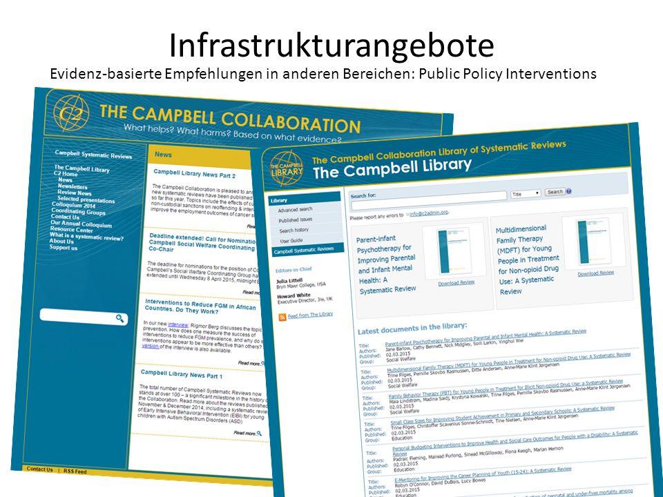 Infrastrukturangebote Evidenz-basierte Empfehlungen in anderen Bereichen: Public Policy Interventions