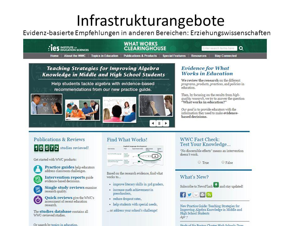 Infrastrukturangebote Evidenz-basierte Empfehlungen in anderen Bereichen: Erziehungswissenschaften