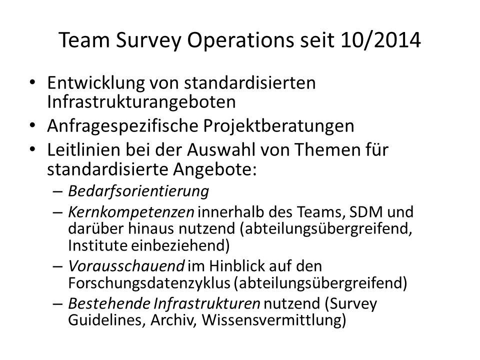 Team Survey Operation: Schwerpunkte 1.Standardisierte Ausschreibungsunterstützung (SDM Survey Guideline) 2.Standardisierte Dokumentationsempfehlungen (SDM Survey Guideline) 3.Interviewerschulung (und –zertifizierung) (Wissensvermittlungsangebot) 4.Experimentelles Sample für das GESIS Panel (geplanter DFG Antrag)