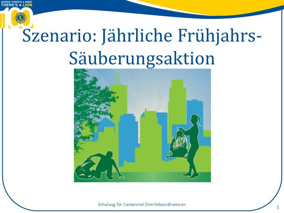 Szenario: Jährliche Frühjahrs- Säuberungsaktion 5 Schulung für Centennial Distriktkoordinatoren
