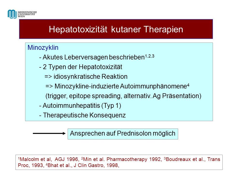 Hepatotoxizität kutaner Therapien 1 Malcolm et al, AGJ 1996, 2 Min et al. Pharmacotherapy 1992, 3 Boudreaux et al., Trans Proc, 1993, 4 Bhat et al., J