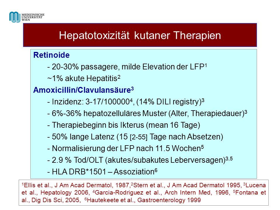 Hepatotoxizität kutaner Therapien 1 Ellis et al., J Am Acad Dermatol, 1987, 2 Stern et al., J Am Acad Dermatol 1995, 3 Lucena et al., Hepatology 2006, 4 Garcia-Rodriguez et al., Arch Intern Med, 1996, 5 Fontana et al., Dig Dis Sci, 2005, 6 Hautekeete et al., Gastroenterology 1999 Retinoide - 20-30% passagere, milde Elevation der LFP 1 ~1% akute Hepatitis 2 Amoxicillin/Clavulansäure 3 - Inzidenz: 3-17/100000 4, (14% DILI registry) 3 - 6%-36% hepatozelluläres Muster (Alter, Therapiedauer) 3 - Therapiebeginn bis Ikterus (mean 16 Tage) - 50% lange Latenz (15 [2-55] Tage nach Absetzen) - Normalisierung der LFP nach 11.5 Wochen 5 - 2.9 % Tod/OLT (akutes/subakutes Leberversagen) 3,5 - HLA DRB*1501 – Assoziation 6