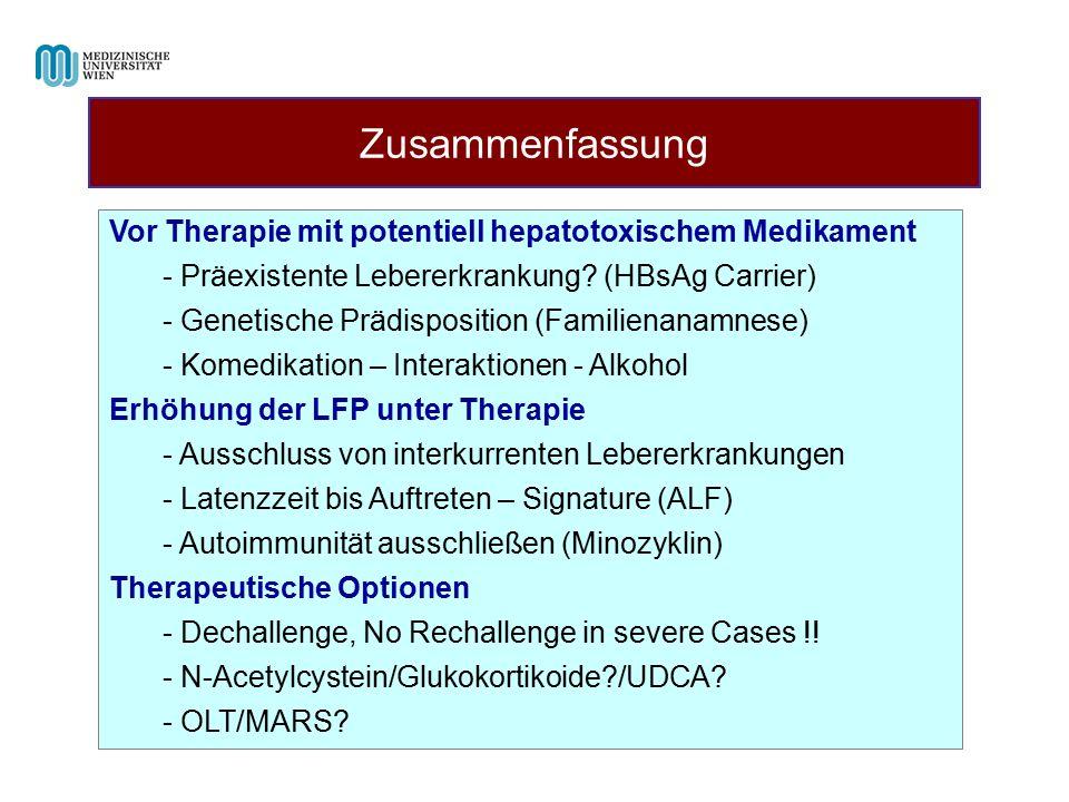 Zusammenfassung Vor Therapie mit potentiell hepatotoxischem Medikament - Präexistente Lebererkrankung? (HBsAg Carrier) - Genetische Prädisposition (Fa