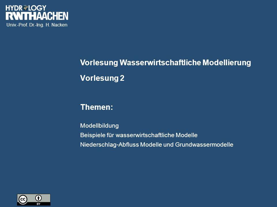 Univ.-Prof. Dr.-Ing. H. Nacken Vorlesung Wasserwirtschaftliche Modellierung Themen: Vorlesung 2 Modellbildung Beispiele für wasserwirtschaftliche Mode