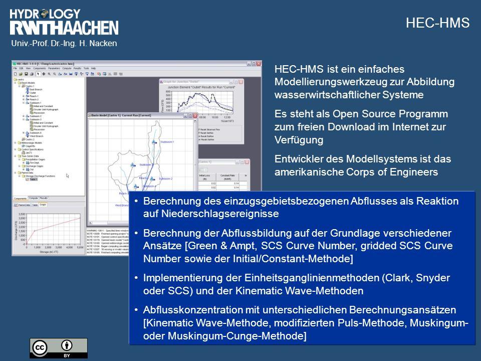 Univ.-Prof. Dr.-Ing. H. Nacken HEC-HMS ist ein einfaches Modellierungswerkzeug zur Abbildung wasserwirtschaftlicher Systeme Es steht als Open Source P