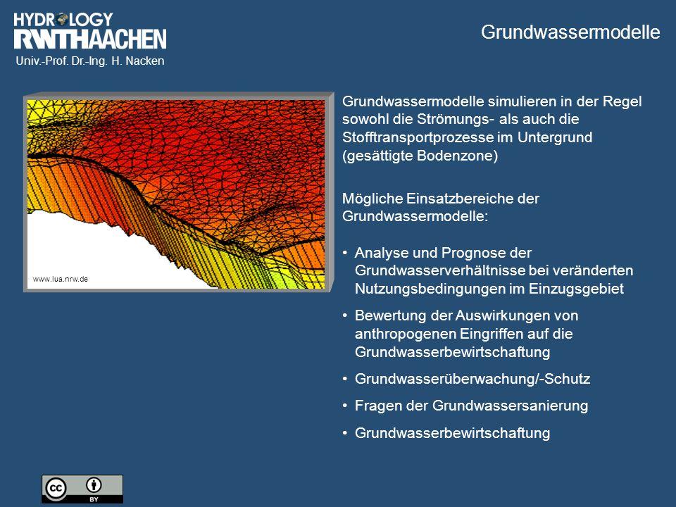 Univ.-Prof. Dr.-Ing. H. Nacken Grundwassermodelle simulieren in der Regel sowohl die Strömungs- als auch die Stofftransportprozesse im Untergrund (ges