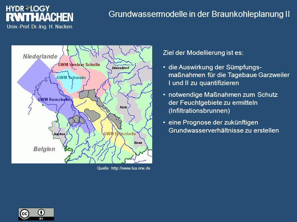 Univ.-Prof. Dr.-Ing. H. Nacken Quelle: http://www.lua.nrw.de Ziel der Modellierung ist es: Grundwassermodelle in der Braunkohleplanung II die Auswirku