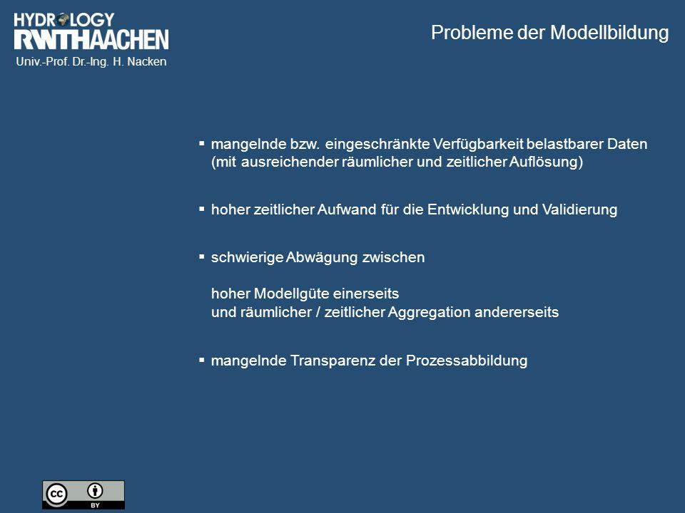 Univ.-Prof. Dr.-Ing. H. Nacken  schwierige Abwägung zwischen hoher Modellgüte einerseits und räumlicher / zeitlicher Aggregation andererseits  mange