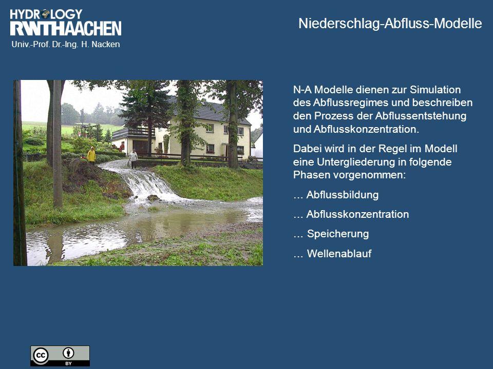 Univ.-Prof. Dr.-Ing. H. Nacken N-A Modelle dienen zur Simulation des Abflussregimes und beschreiben den Prozess der Abflussentstehung und Abflusskonze