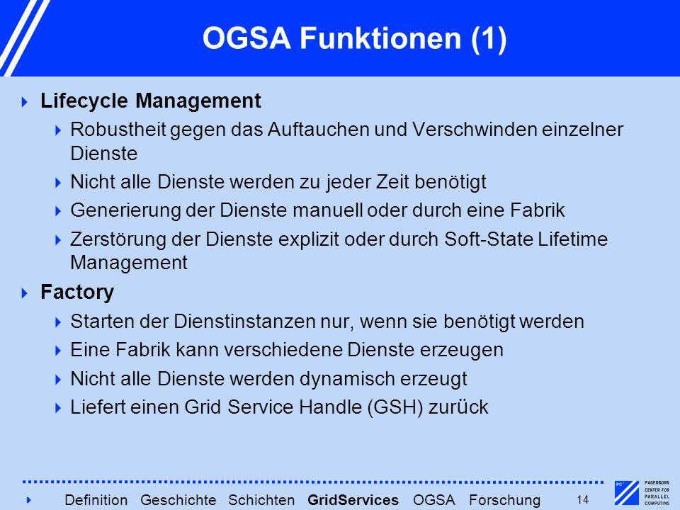 414 OGSA Funktionen (1)  Lifecycle Management  Robustheit gegen das Auftauchen und Verschwinden einzelner Dienste  Nicht alle Dienste werden zu jed