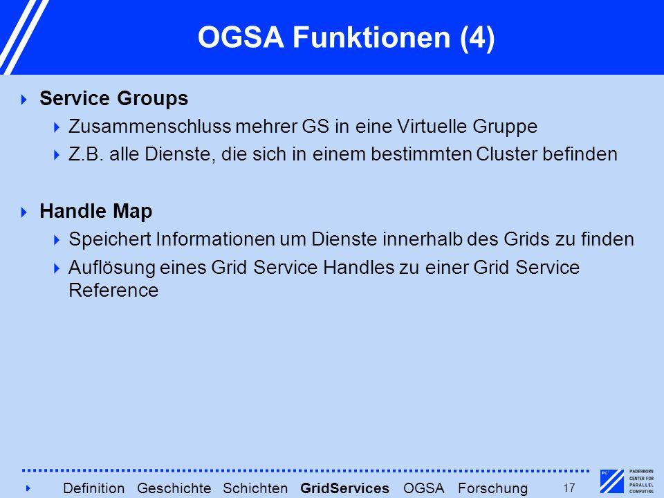 417 OGSA Funktionen (4)  Service Groups  Zusammenschluss mehrer GS in eine Virtuelle Gruppe  Z.B. alle Dienste, die sich in einem bestimmten Cluste
