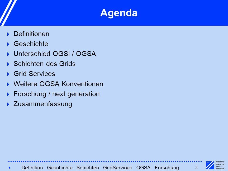 4242 Agenda  Definitionen  Geschichte  Unterschied OGSI / OGSA  Schichten des Grids  Grid Services  Weitere OGSA Konventionen  Forschung / next