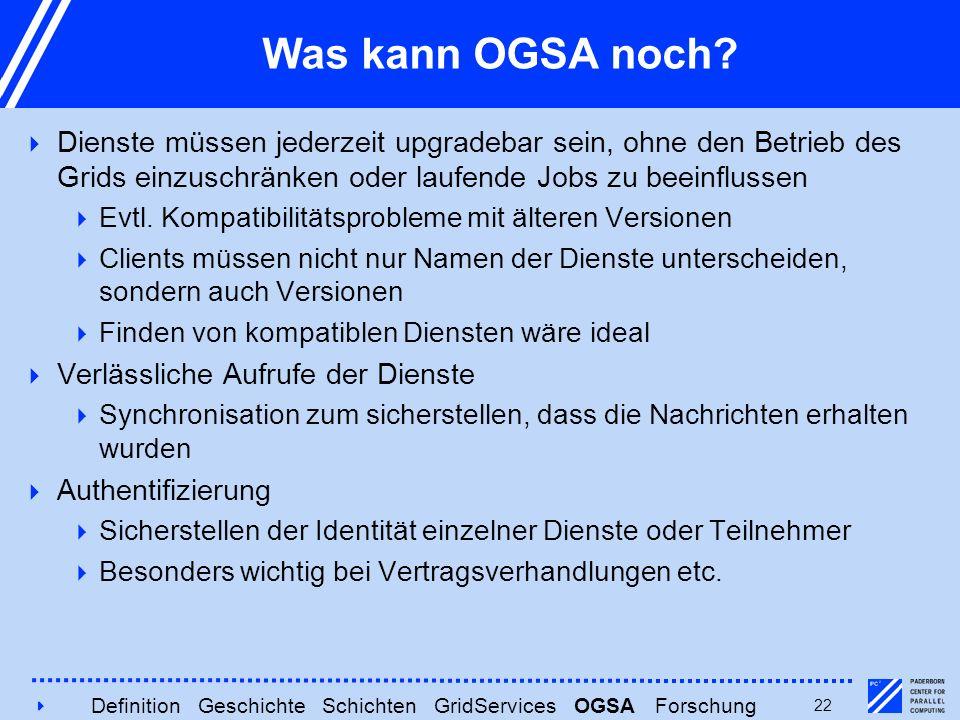 422 Was kann OGSA noch?  Dienste müssen jederzeit upgradebar sein, ohne den Betrieb des Grids einzuschränken oder laufende Jobs zu beeinflussen  Evt