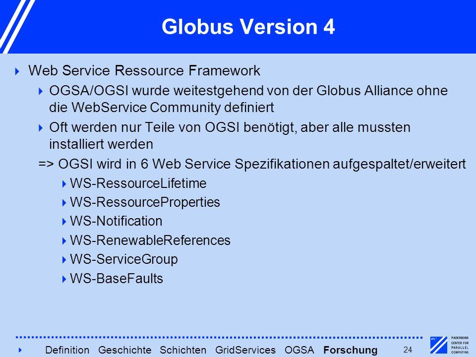 424 Globus Version 4  Web Service Ressource Framework  OGSA/OGSI wurde weitestgehend von der Globus Alliance ohne die WebService Community definiert
