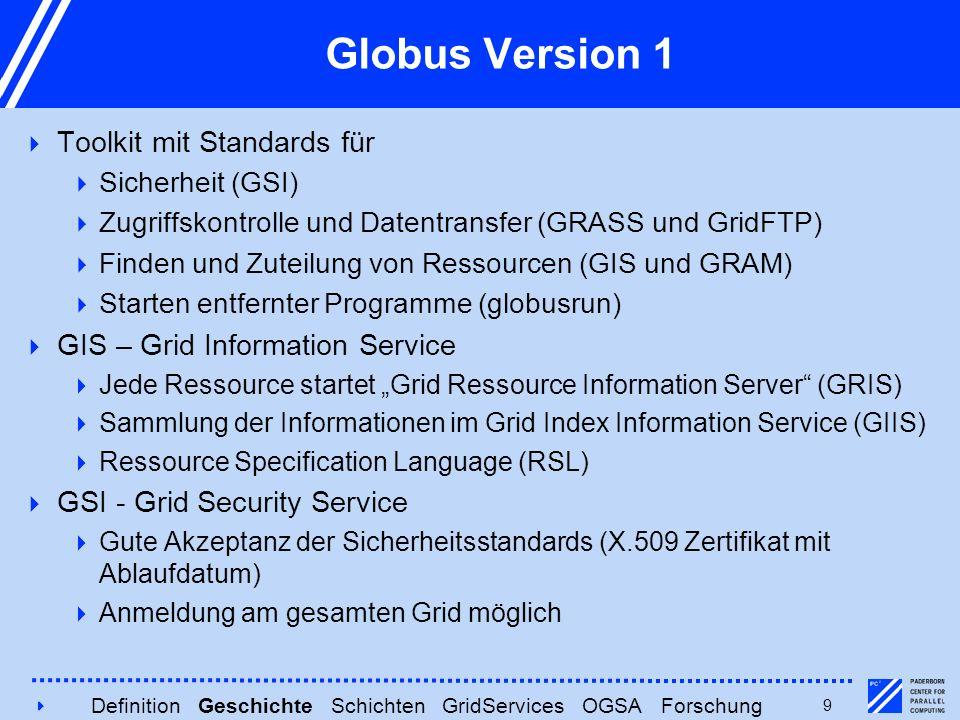 4949 Globus Version 1  Toolkit mit Standards für  Sicherheit (GSI)  Zugriffskontrolle und Datentransfer (GRASS und GridFTP)  Finden und Zuteilung