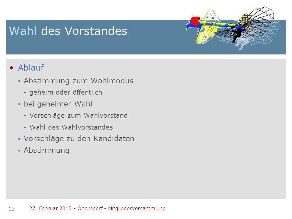 13 27. Februar 2015 - Oberndorf - Mitgliederversammlung Wahl des Vorstandes Ablauf  Abstimmung zum Wahlmodus -geheim oder öffentlich  bei geheimer W