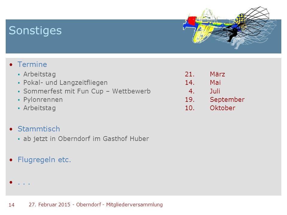 14 27. Februar 2015 - Oberndorf - Mitgliederversammlung Sonstiges Termine  Arbeitstag21.März  Pokal- und Langzeitfliegen14.Mai  Sommerfest mit Fun
