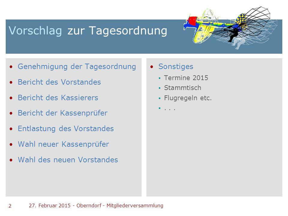 2 27. Februar 2015 - Oberndorf - Mitgliederversammlung Vorschlag zur Tagesordnung Genehmigung der Tagesordnung Bericht des Vorstandes Bericht des Kass