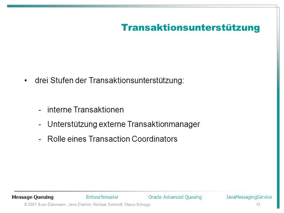© 2001 Sven Dammann, Jens Dietrich, Michael Schmidt, Marco Schopp13 Transaktionsunterstützung drei Stufen der Transaktionsunterstützung: -interne Tran