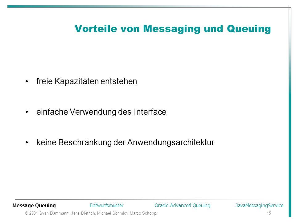 © 2001 Sven Dammann, Jens Dietrich, Michael Schmidt, Marco Schopp15 Vorteile von Messaging und Queuing freie Kapazitäten entstehen einfache Verwendung