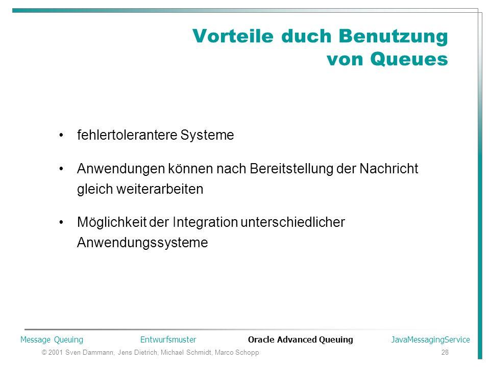 © 2001 Sven Dammann, Jens Dietrich, Michael Schmidt, Marco Schopp28 Vorteile duch Benutzung von Queues fehlertolerantere Systeme Anwendungen können na