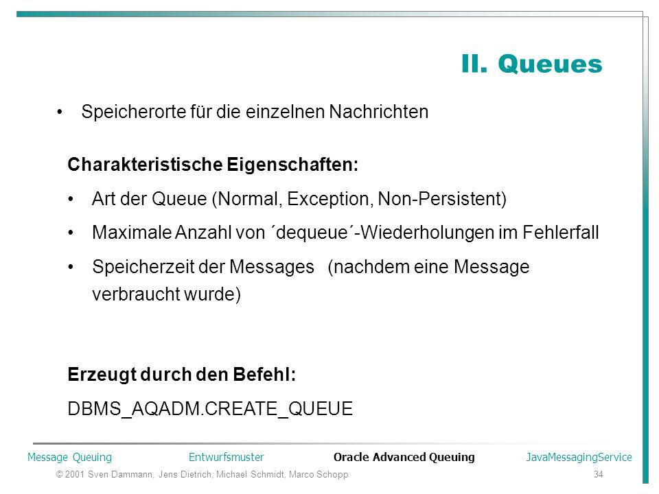 © 2001 Sven Dammann, Jens Dietrich, Michael Schmidt, Marco Schopp34 II. Queues Speicherorte für die einzelnen Nachrichten Charakteristische Eigenschaf