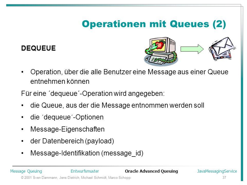 © 2001 Sven Dammann, Jens Dietrich, Michael Schmidt, Marco Schopp37 Operationen mit Queues (2) DEQUEUE Operation, über die alle Benutzer eine Message