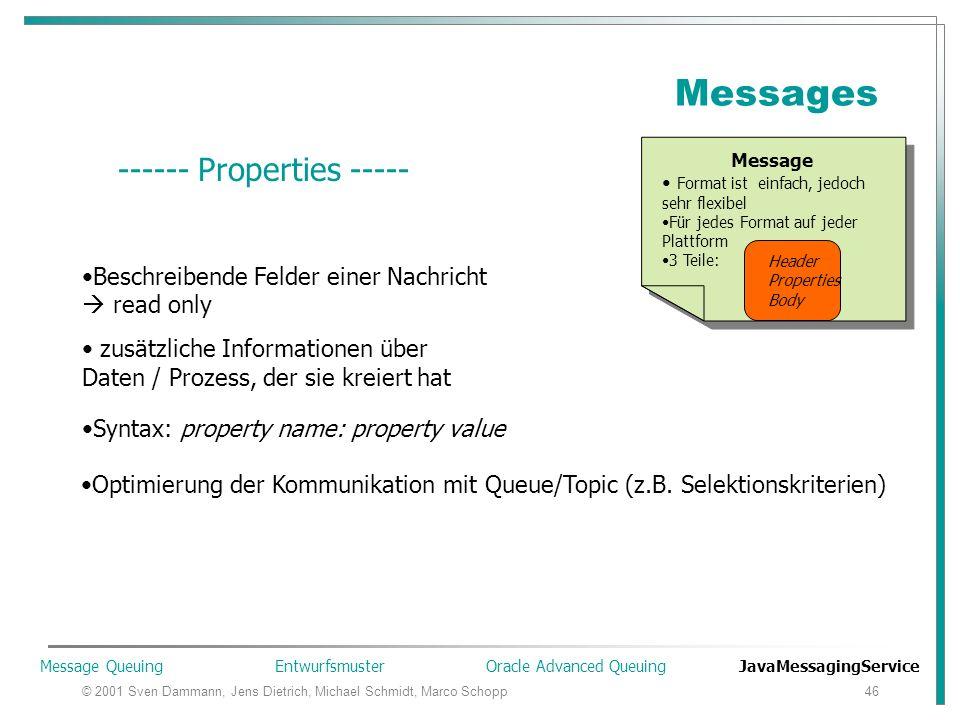 © 2001 Sven Dammann, Jens Dietrich, Michael Schmidt, Marco Schopp46 Messages Message Format ist einfach, jedoch sehr flexibel Für jedes Format auf jeder Plattform 3 Teile: Header Properties Body Message Format ist einfach, jedoch sehr flexibel Für jedes Format auf jeder Plattform 3 Teile: Header Properties Body Header Properties Body ------ Properties ----- Beschreibende Felder einer Nachricht  read only zusätzliche Informationen über Daten / Prozess, der sie kreiert hat Syntax: property name: property value Optimierung der Kommunikation mit Queue/Topic (z.B.