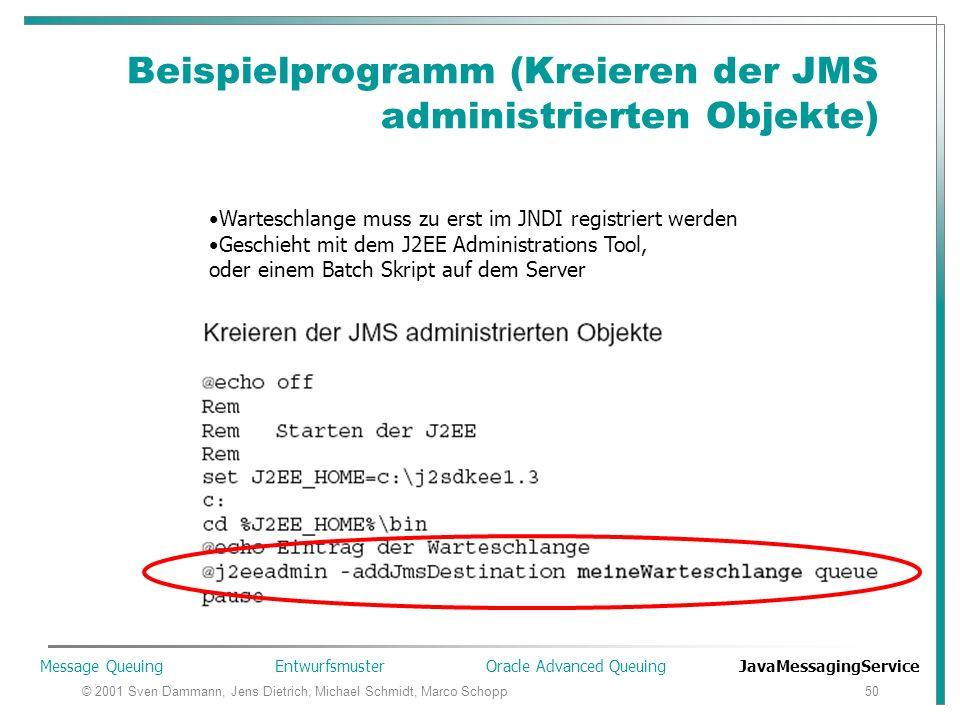 © 2001 Sven Dammann, Jens Dietrich, Michael Schmidt, Marco Schopp50 Beispielprogramm (Kreieren der JMS administrierten Objekte) Warteschlange muss zu