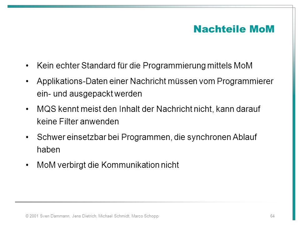 © 2001 Sven Dammann, Jens Dietrich, Michael Schmidt, Marco Schopp64 Nachteile MoM Kein echter Standard für die Programmierung mittels MoM Applikations