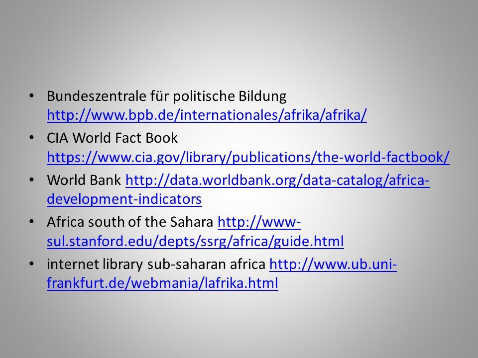 Bundeszentrale für politische Bildung http://www.bpb.de/internationales/afrika/afrika/ http://www.bpb.de/internationales/afrika/afrika/ CIA World Fact