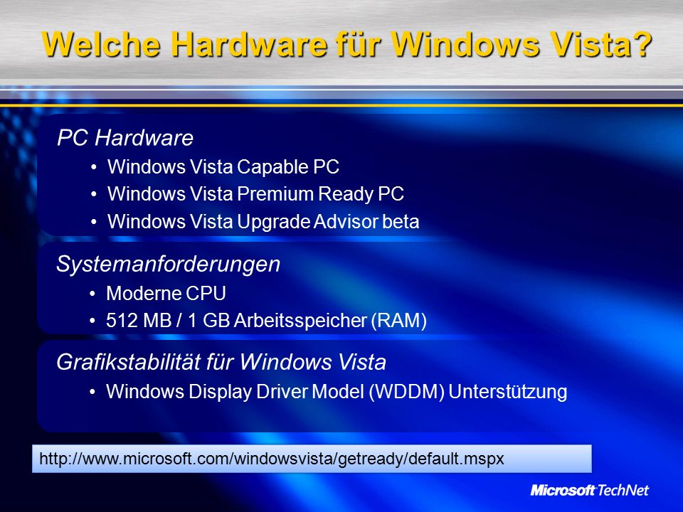 PC Hardware Windows Vista Capable PC Windows Vista Premium Ready PC Windows Vista Upgrade Advisor beta Systemanforderungen Moderne CPU 512 MB / 1 GB Arbeitsspeicher (RAM) Grafikstabilität für Windows Vista Windows Display Driver Model (WDDM) Unterstützung Welche Hardware für Windows Vista.