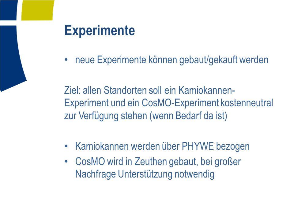 Experimente neue Experimente können gebaut/gekauft werden Ziel: allen Standorten soll ein Kamiokannen- Experiment und ein CosMO-Experiment kostenneutral zur Verfügung stehen (wenn Bedarf da ist) Kamiokannen werden über PHYWE bezogen CosMO wird in Zeuthen gebaut, bei großer Nachfrage Unterstützung notwendig