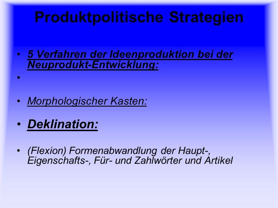 Produktpolitische Strategien 5 Verfahren der Ideenproduktion bei der Neuprodukt-Entwicklung: Morphologischer Kasten: Konjugation: Beugung des Verbs nach Person, Numerus, Tempus, Modus,Genus und Aspekt