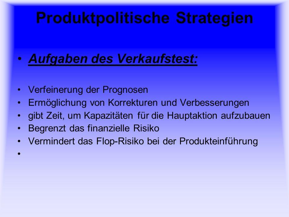 Produktpolitische Strategien Sortiment: Sortiment besteht aus: Sortimentsbereich z.B.