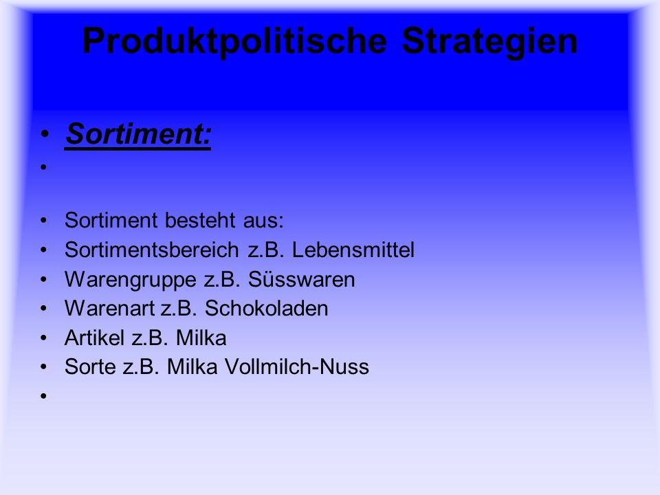 Produktpolitische Strategien Sortimentsgestaltung: Sortimentsschwerpunkt Sortimentsstruktur (Sortimentsbreite Sortimentstiefe) Herkunftsorientierung Preisorientierung Orientierung an der Verkäuflichkeit etc.