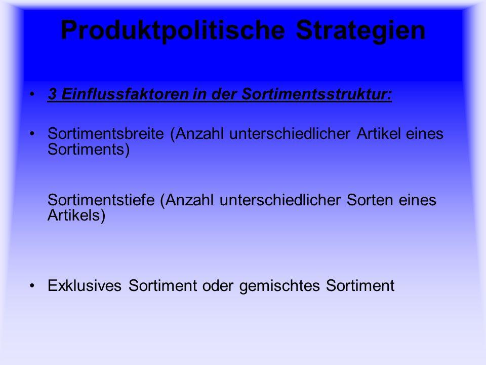 Produktpolitische Strategien 3 Einflussfaktoren in der Sortimentsstruktur: Sortimentsbreite (Anzahl unterschiedlicher Artikel eines Sortiments) Sortimentstiefe (Anzahl unterschiedlicher Sorten eines Artikels) Exklusives Sortiment oder gemischtes Sortiment