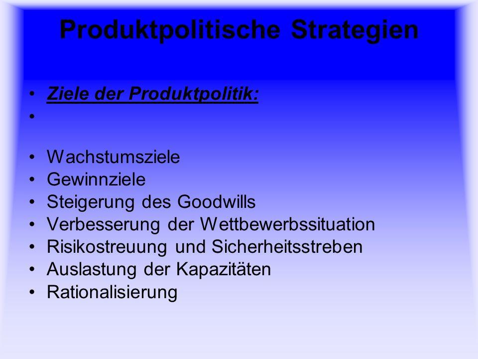 Produktpolitische Strategien Maßnahmen der Produktpolitik: Produkt-Innovation Produkt-Variation Produkt-Eliminierung Produkt-Diversifikation