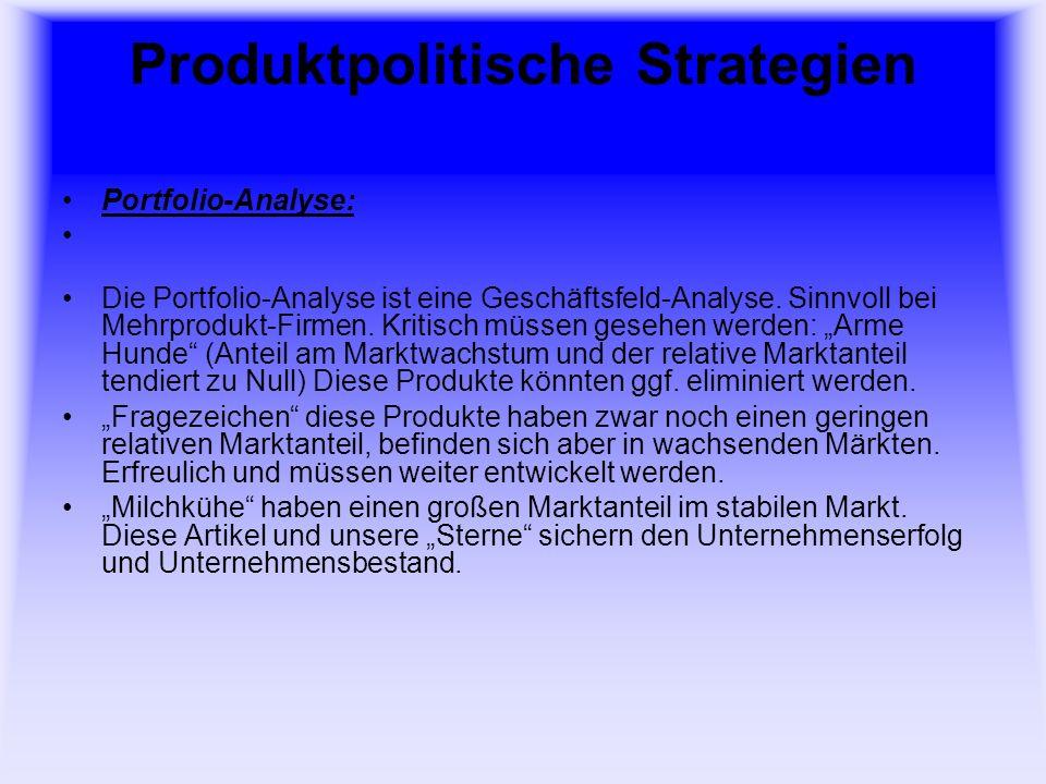 Produktpolitische Strategien Neuprodukt-Entwicklung in 4-Grob- Schritten: Ideenentwicklung Ideenproduktion Ideen-Überprüfung Produktentwicklung und Einführung in den Markt