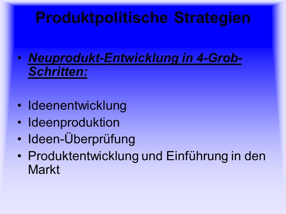 Produktpolitische Strategien 5 Verfahren der Ideenproduktion bei der Neuprodukt-Entwicklung: Morphologischer Kasten Brainstorming Brainwriting Mindmapping Synektik Methode 635