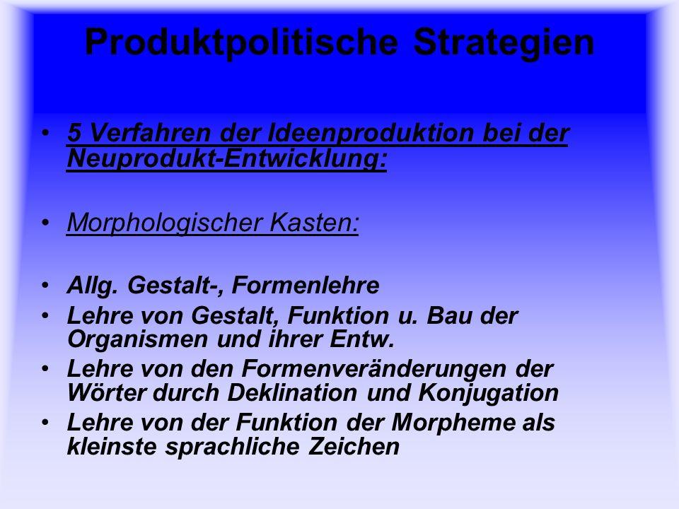 Produktpolitische Strategien 5 Verfahren der Ideenproduktion bei der Neuprodukt-Entwicklung: Morphologischer Kasten: Deklination: (Flexion) Formenabwandlung der Haupt-, Eigenschafts-, Für- und Zahlwörter und Artikel