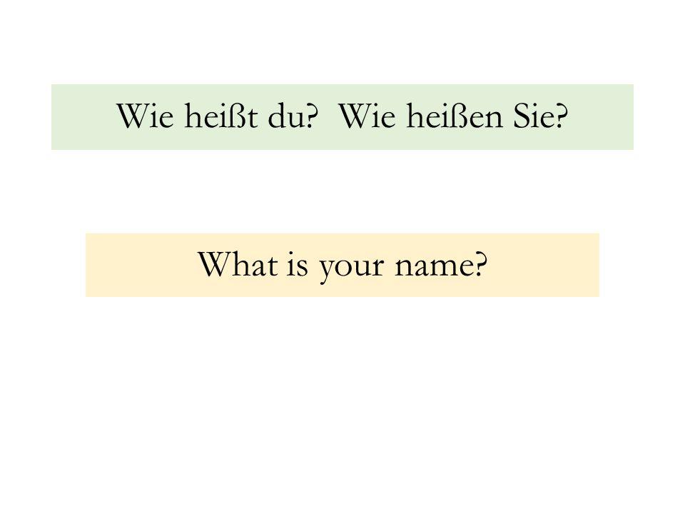 Wie heißt du Wie heißen Sie What is your name