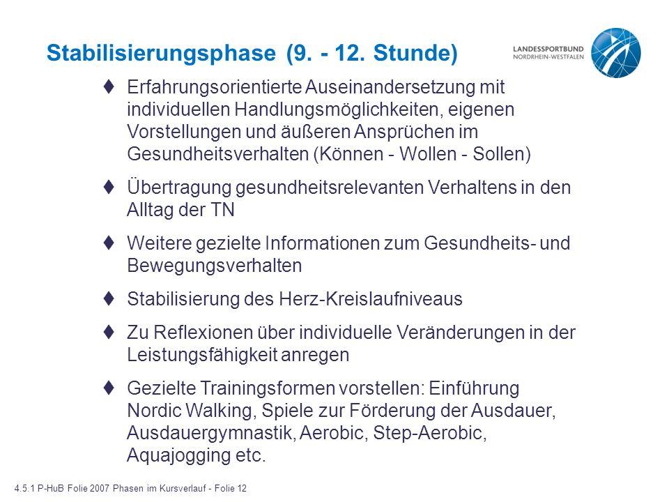 Stabilisierungsphase (9.- 12.
