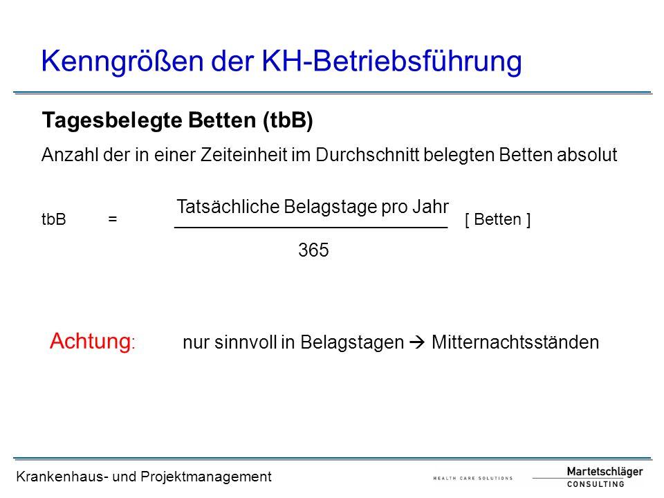 Krankenhaus- und Projektmanagement Kenngrößen der KH-Betriebsführung Tagesbelegte Betten (tbB) Anzahl der in einer Zeiteinheit im Durchschnitt belegte