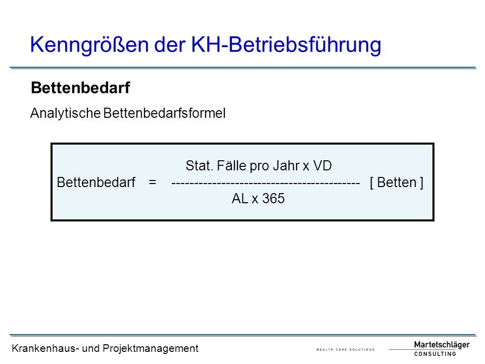 Krankenhaus- und Projektmanagement Kenngrößen der KH-Betriebsführung Bettenbedarf Analytische Bettenbedarfsformel Bettenbedarf = ---------------------