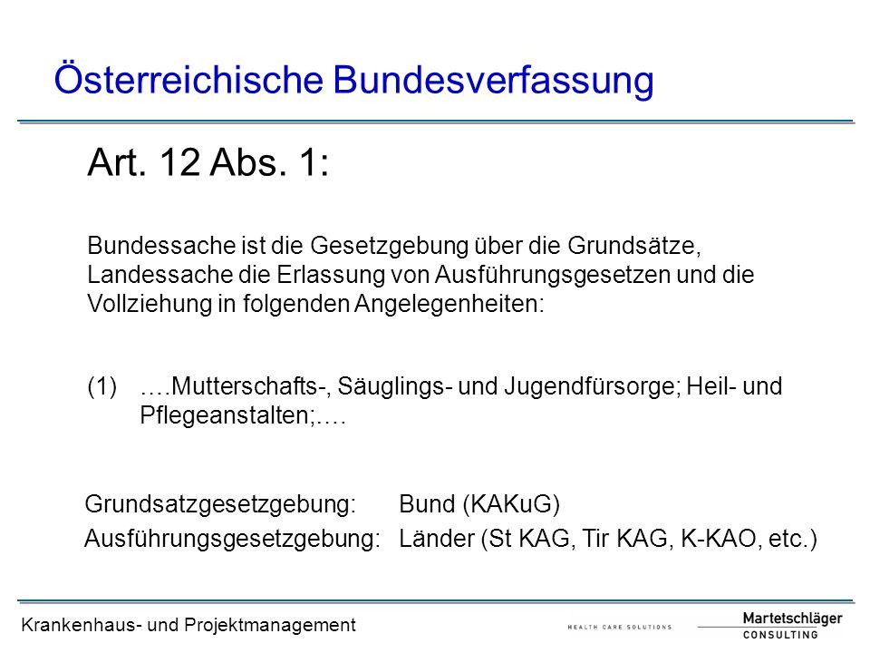 Krankenhaus- und Projektmanagement Österreichische Bundesverfassung (1) ….Mutterschafts-, Säuglings- und Jugendfürsorge; Heil- und Pflegeanstalten;….