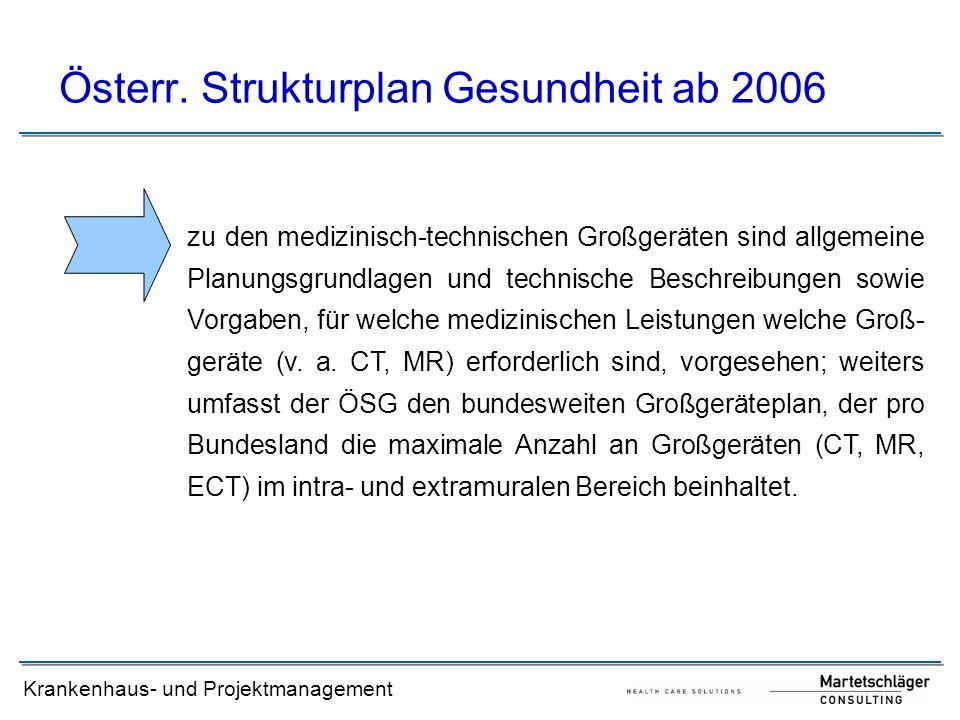 Krankenhaus- und Projektmanagement Österr. Strukturplan Gesundheit ab 2006 zu den medizinisch-technischen Großgeräten sind allgemeine Planungsgrundlag