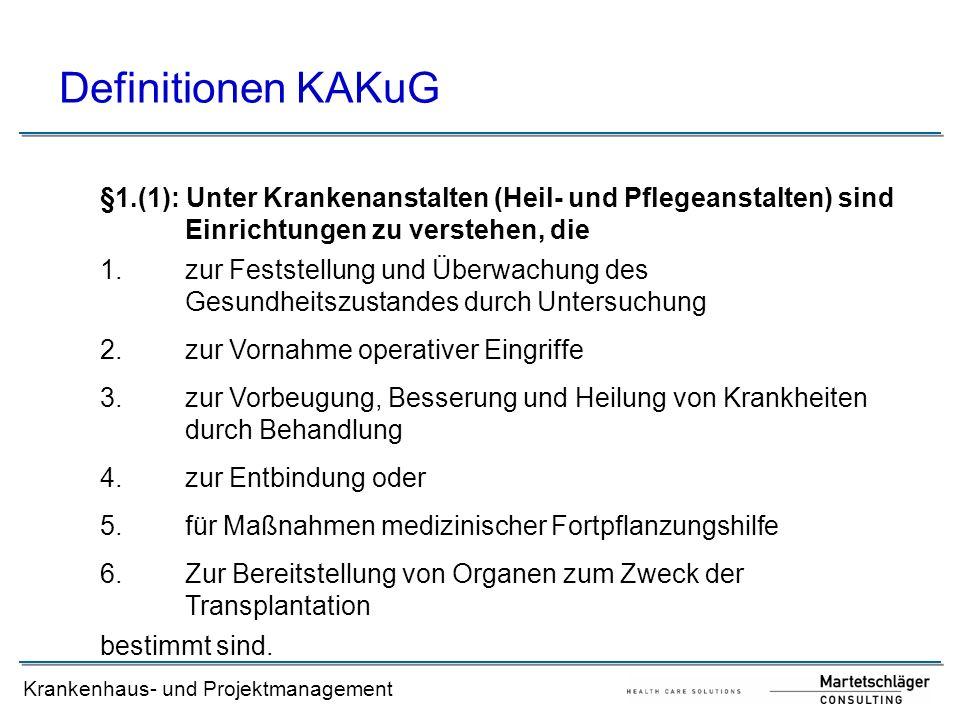 Krankenhaus- und Projektmanagement Definitionen KAKuG §1.(1): Unter Krankenanstalten (Heil- und Pflegeanstalten) sind Einrichtungen zu verstehen, die