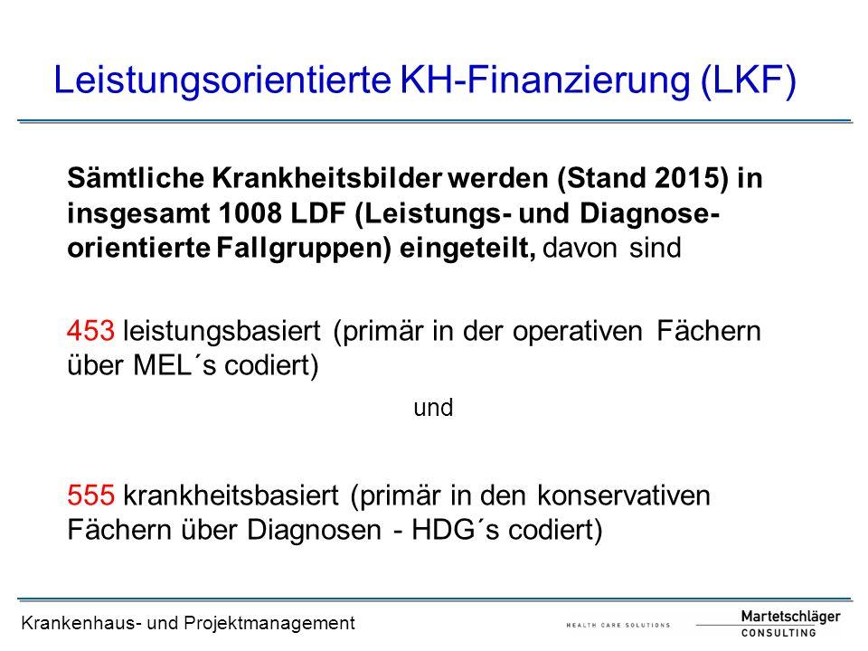 Krankenhaus- und Projektmanagement Leistungsorientierte KH-Finanzierung (LKF) Sämtliche Krankheitsbilder werden (Stand 2015) in insgesamt 1008 LDF (Le