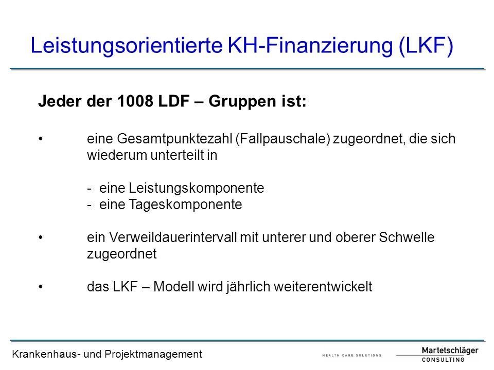 Krankenhaus- und Projektmanagement Leistungsorientierte KH-Finanzierung (LKF) Jeder der 1008 LDF – Gruppen ist: eine Gesamtpunktezahl (Fallpauschale)